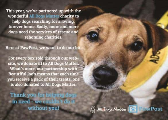 Pawpost Monthly Pet Box - Partnership with All Dogs Matter