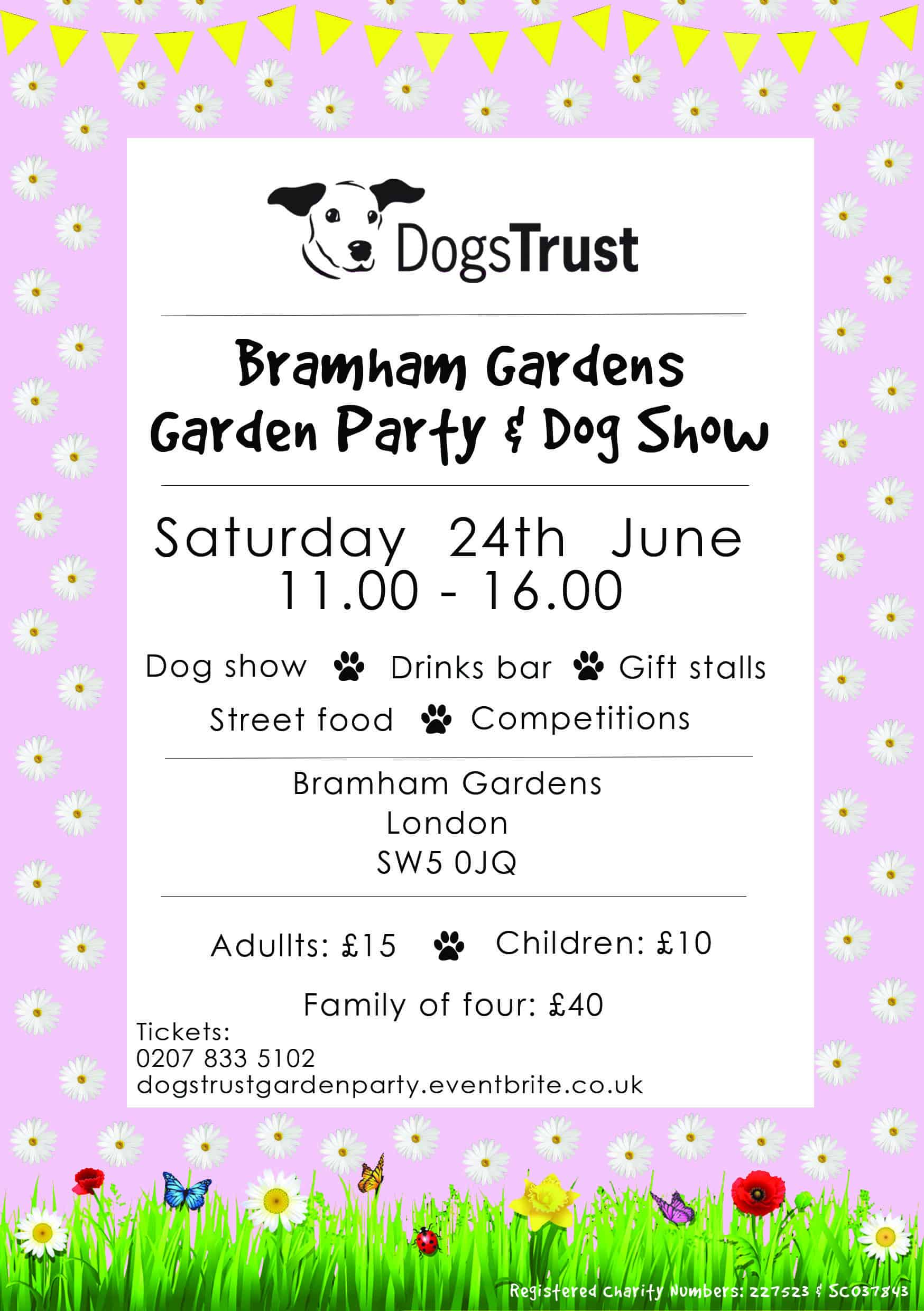 Dogs Trust Bramham Gardens Party and Dog Show Flyer
