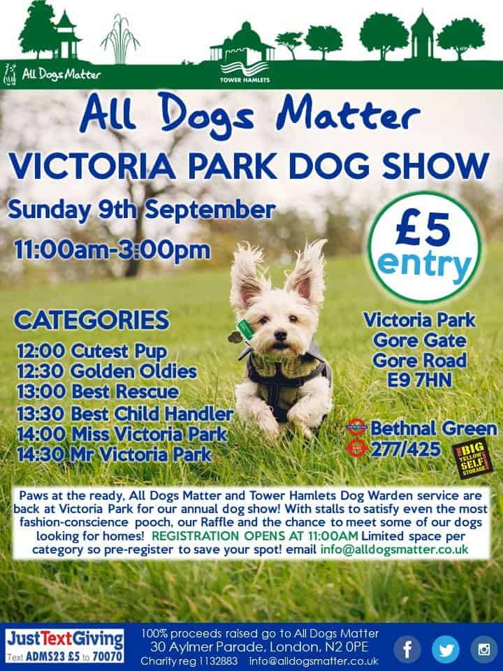 All Dogs Matter Victoria Park Dog Show 2018 Flyer