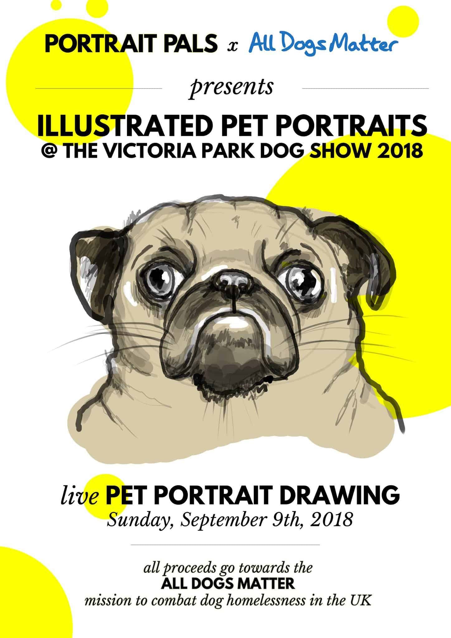 Live Illustrated Pet Portraits at the Victoria Park Dog Show