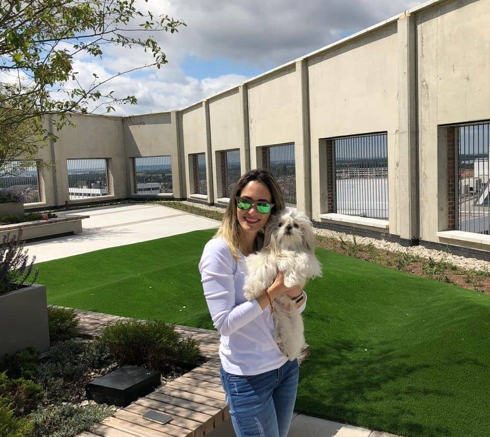 How Renting a Flat With a Dog in London Is Easy with Fizzy Living - Julianna and Belinha the Shih Tzu in the Fizzy Living Communal Gardens