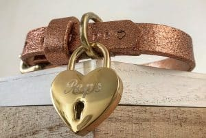 Rose Gold Glitter Leather Dog Collar