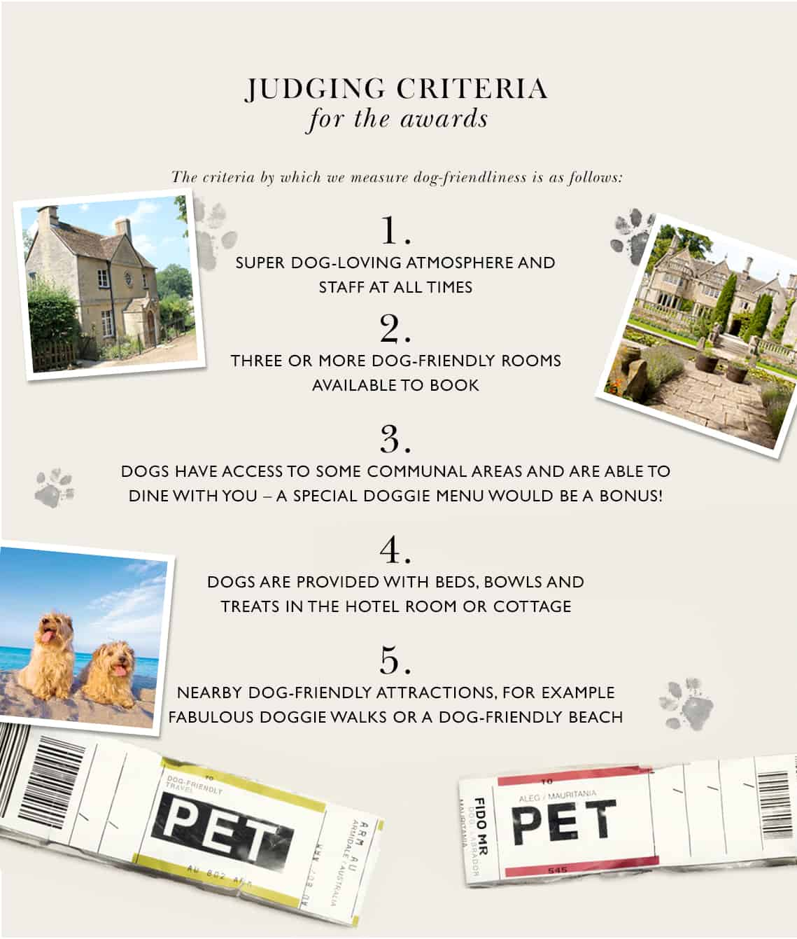 Dog-Friendly Travel Awards 2018 Judging Criteria
