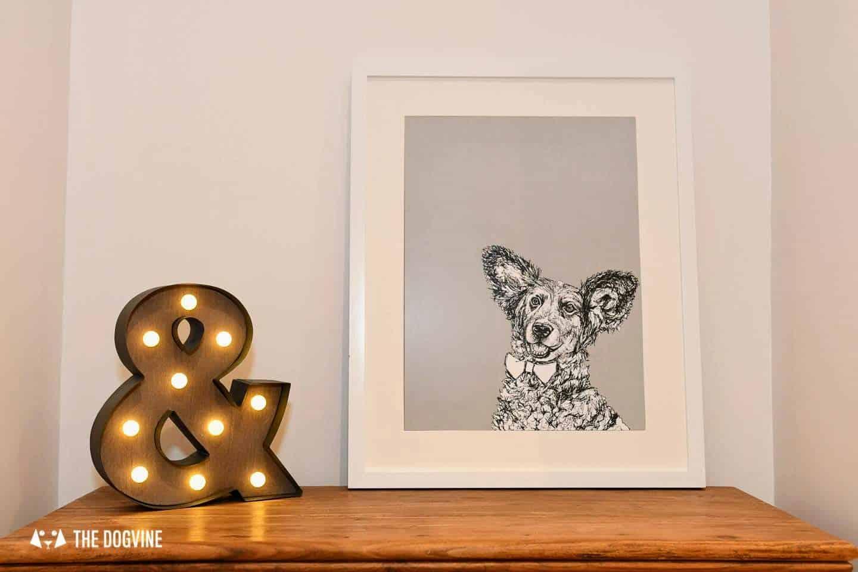 London Dog Portraits To Make You Smile - Rebecca Harrison Designs - Belinha's Framed Dog Portrait