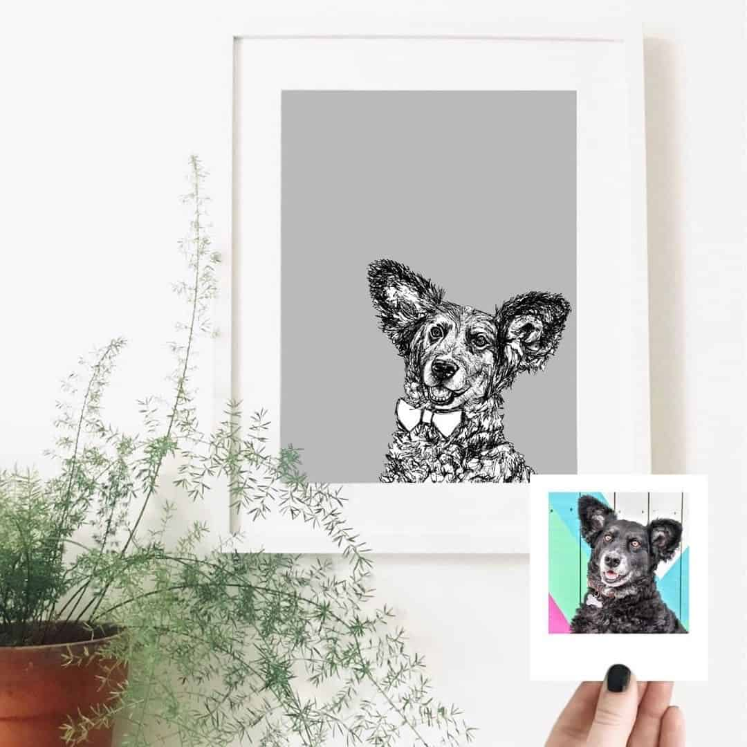London Dog Portraits To Make You Smile - Rebecca Harrison Designs - Belinha's Pawfect Portrait