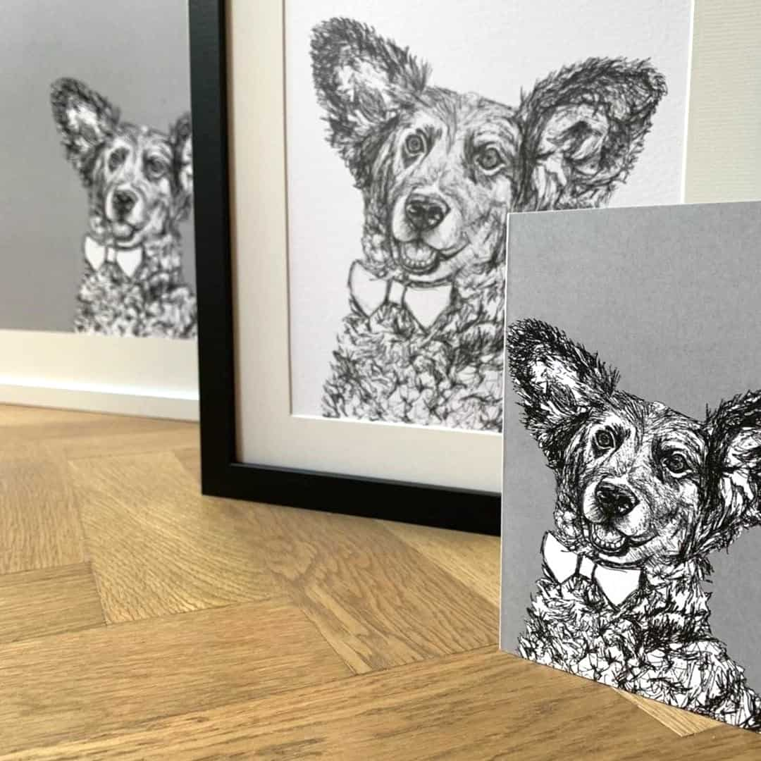 London Dog Portraits To Make You Smile - Rebecca Harrison Designs - Personalised Cards and Portraits