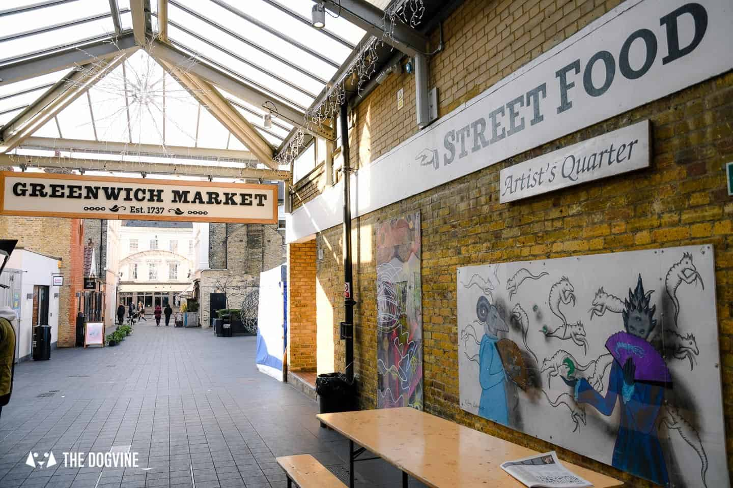 Best Dog-friendly Street Food Markets and Halls in London - Greenwich Market Entrance