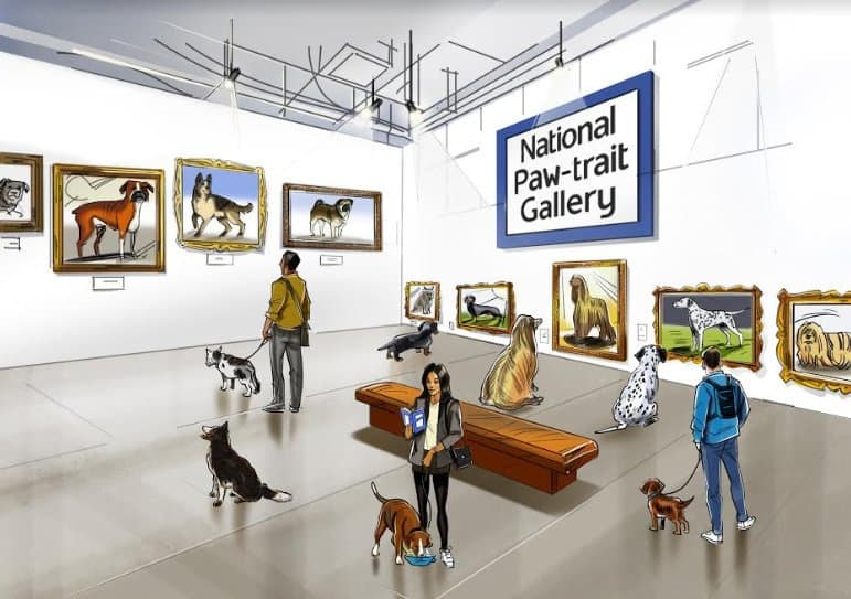 National Paw-trait Gallery in Shoreditch - Protein Gallery in Shoreditch -World's Most Amazing Dog
