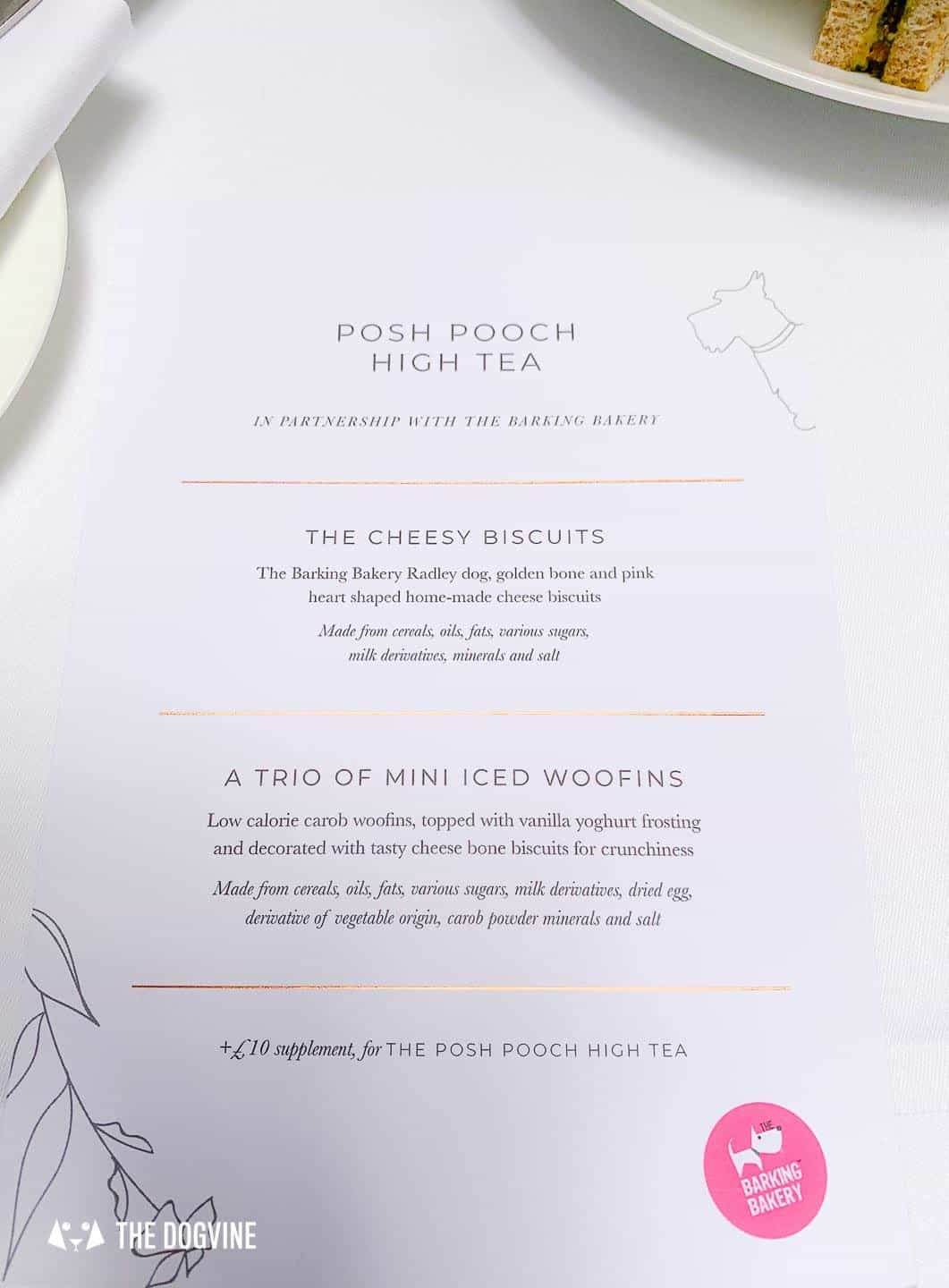 Radley x South Place Hotel Posh Pooch High Tea Menu