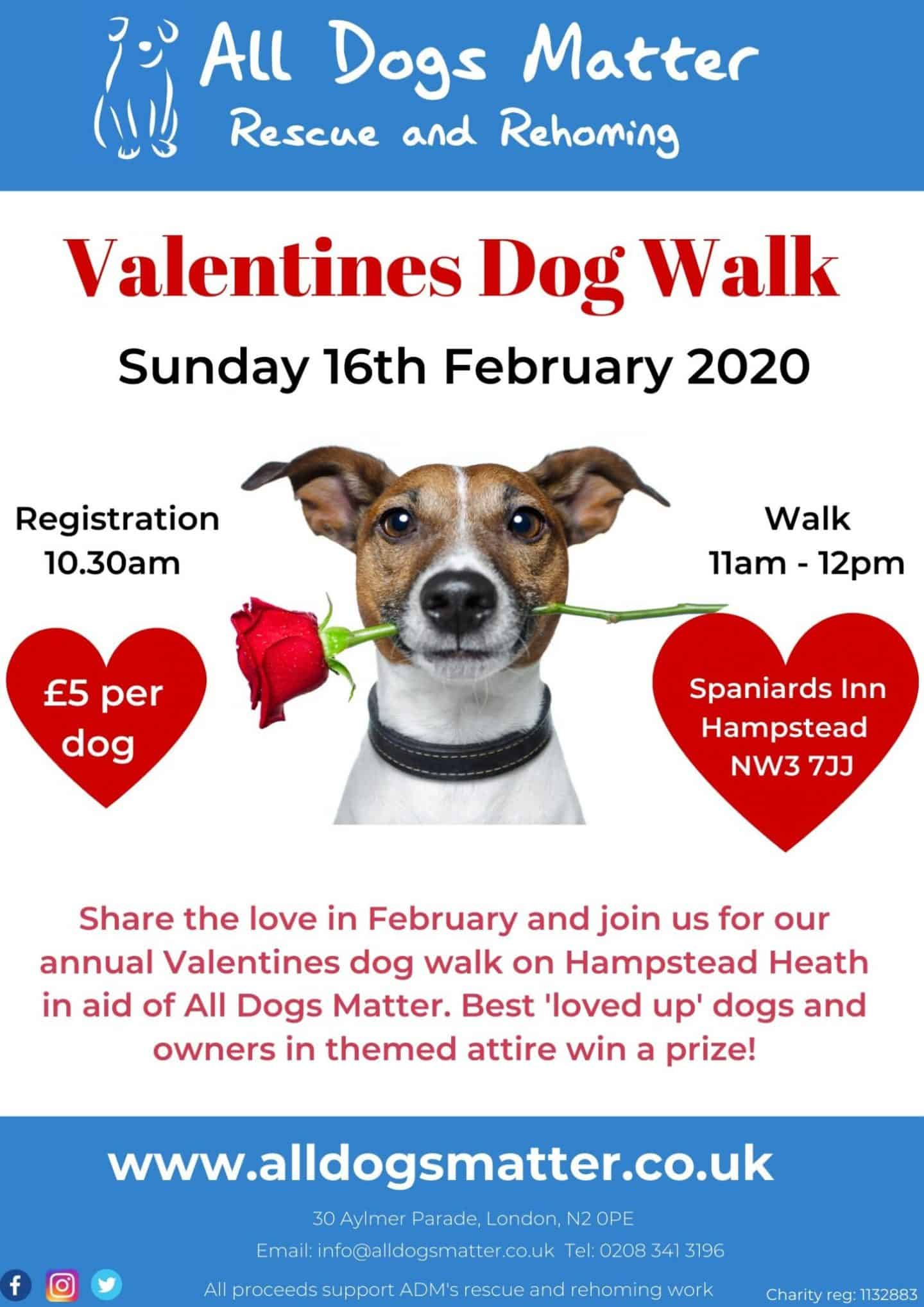 All Dogs Matter Valentines Walk 2020 Flyer