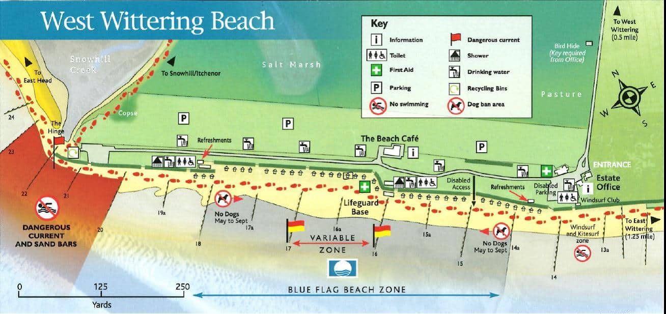 West Wittering Beach Map showing the dog restrictions