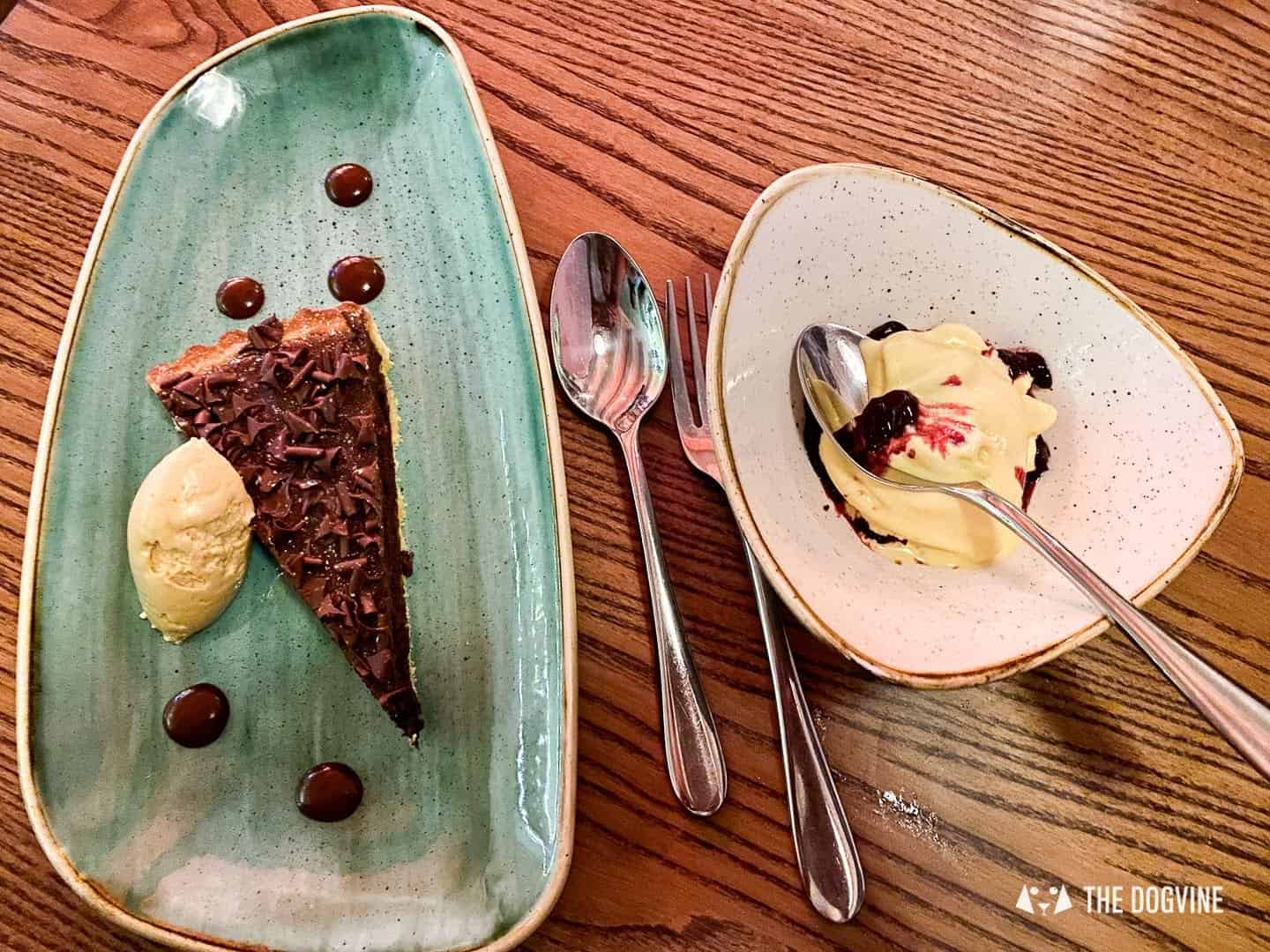 Chocolate and Tahini Tart and Cornish Blue Cheese Ice Cream with Sour Cherry Coulis