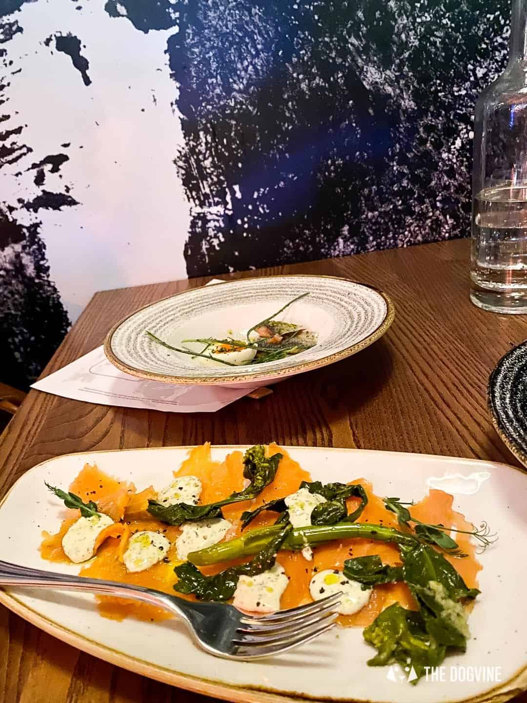 Cold Smoked Scottish Salmon with Pickled Greens and Horseradish Cream - The Melusine