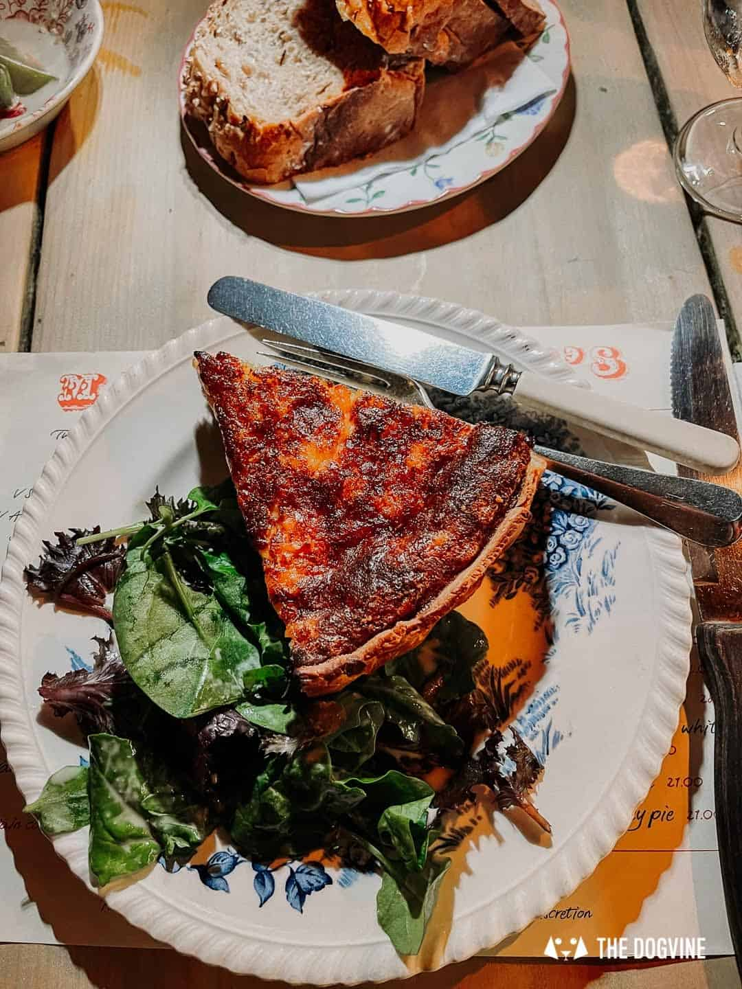 The Cheese and Leek Tart at Maggie Jones's Restaurant is delicious